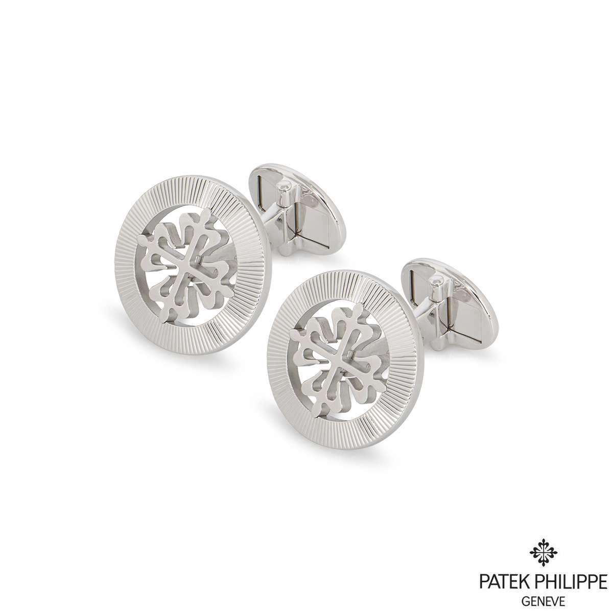 Patek Philippe White Gold Calatrava Cross Cufflinks 205.9089G-001